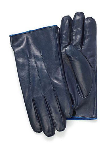 Contrast trim leather gloves