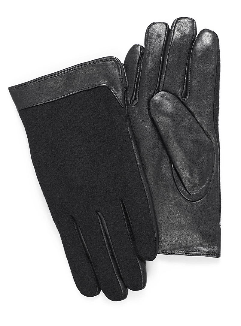 Leather and felt wool gloves
