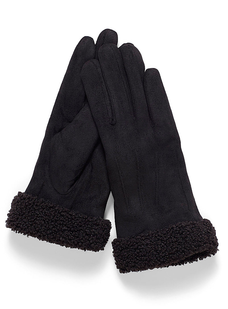 Simons Black Sherpa-accent suede gloves for women