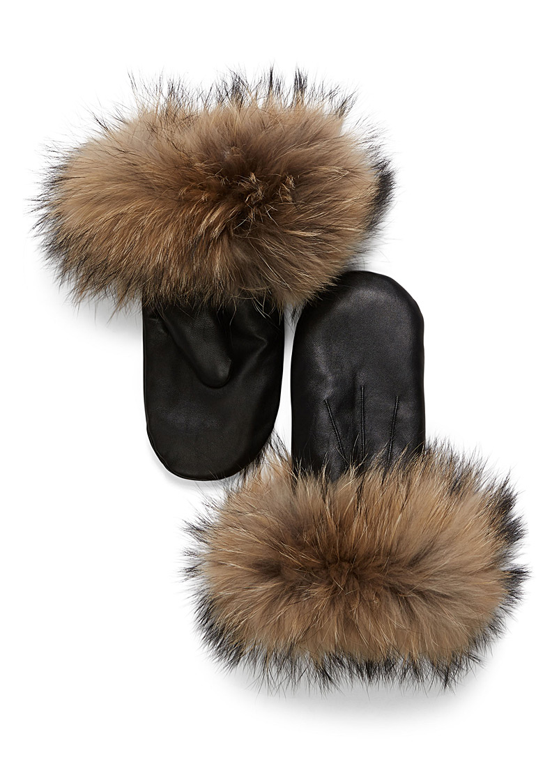 Fur leather mittens - Leather & Suede - Black