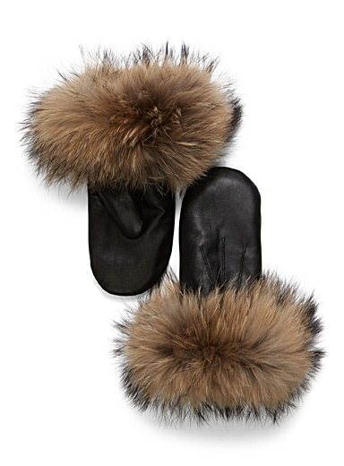 Fur leather mittens