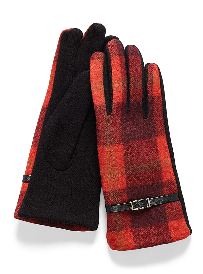 Simons Patterned Red Hatched check gloves for women