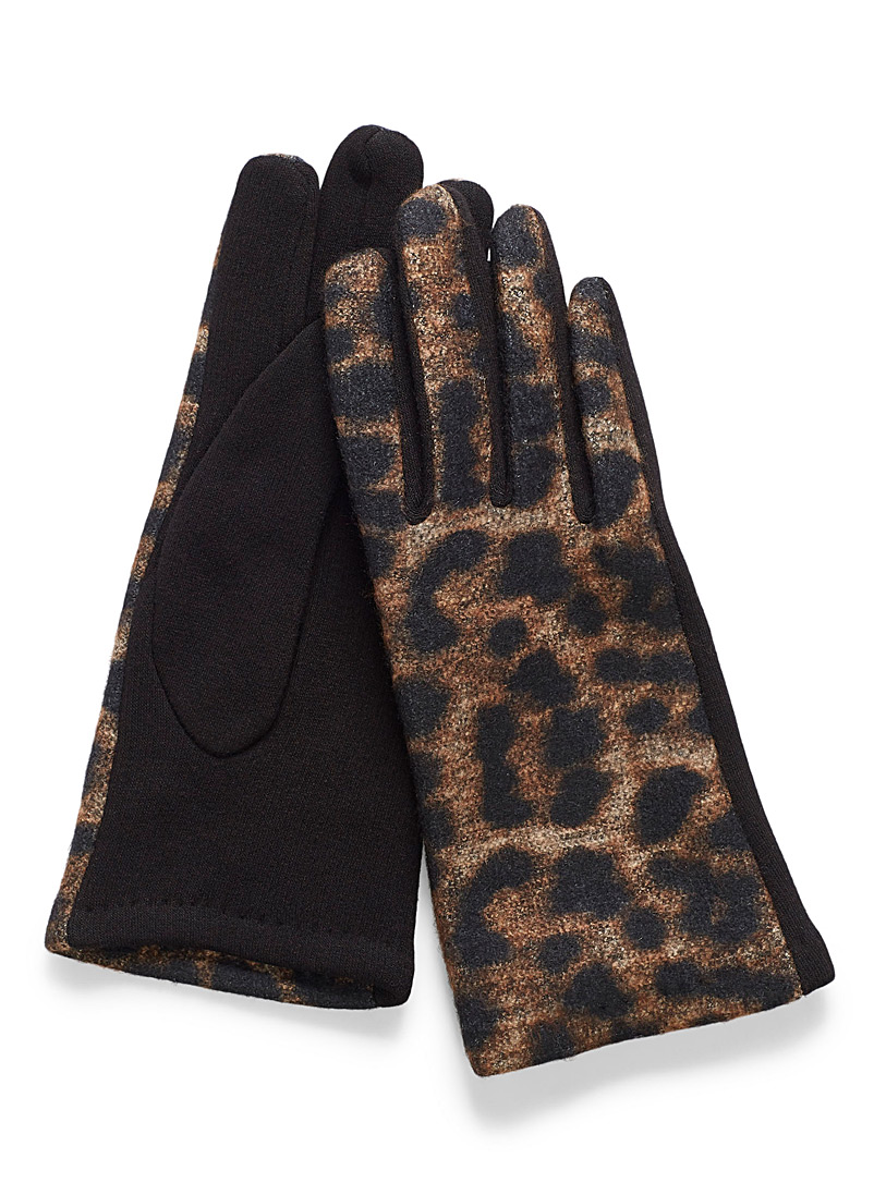 Leopard print gloves - Gloves - Patterned Black