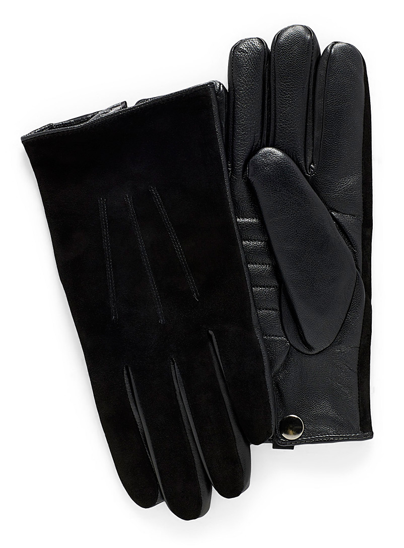 Quilted insert leather and suede gloves - Leather & Suede - Black