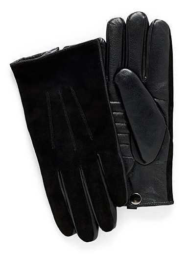 Quilted insert leather and suede gloves