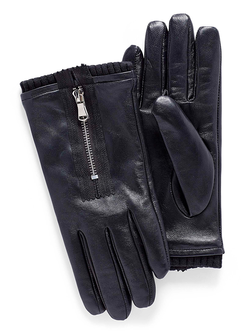accent-zip-leather-gloves