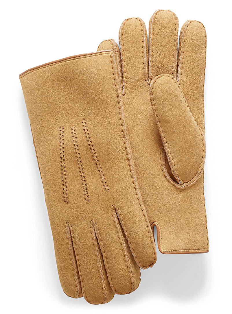 Lined topstitch leather gloves