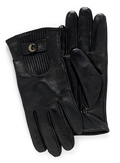 Ribbed insert leather gloves