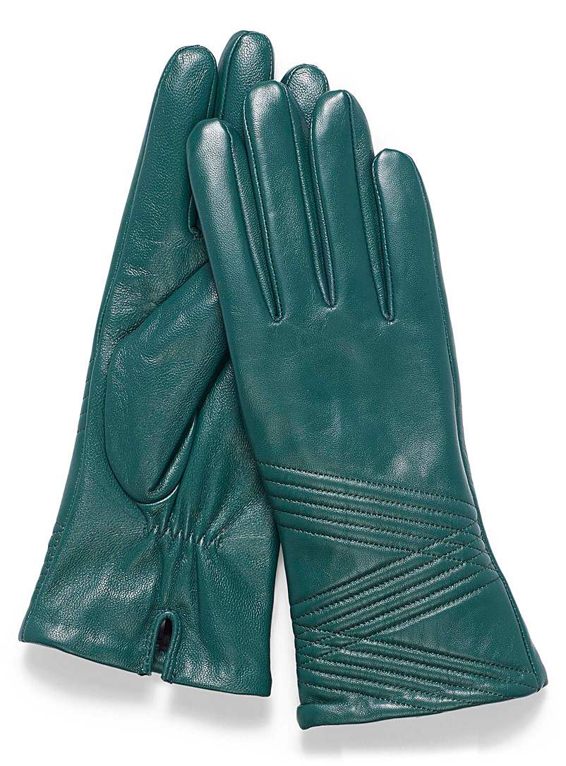 Topstitch leather gloves - Leather & Suede - Green