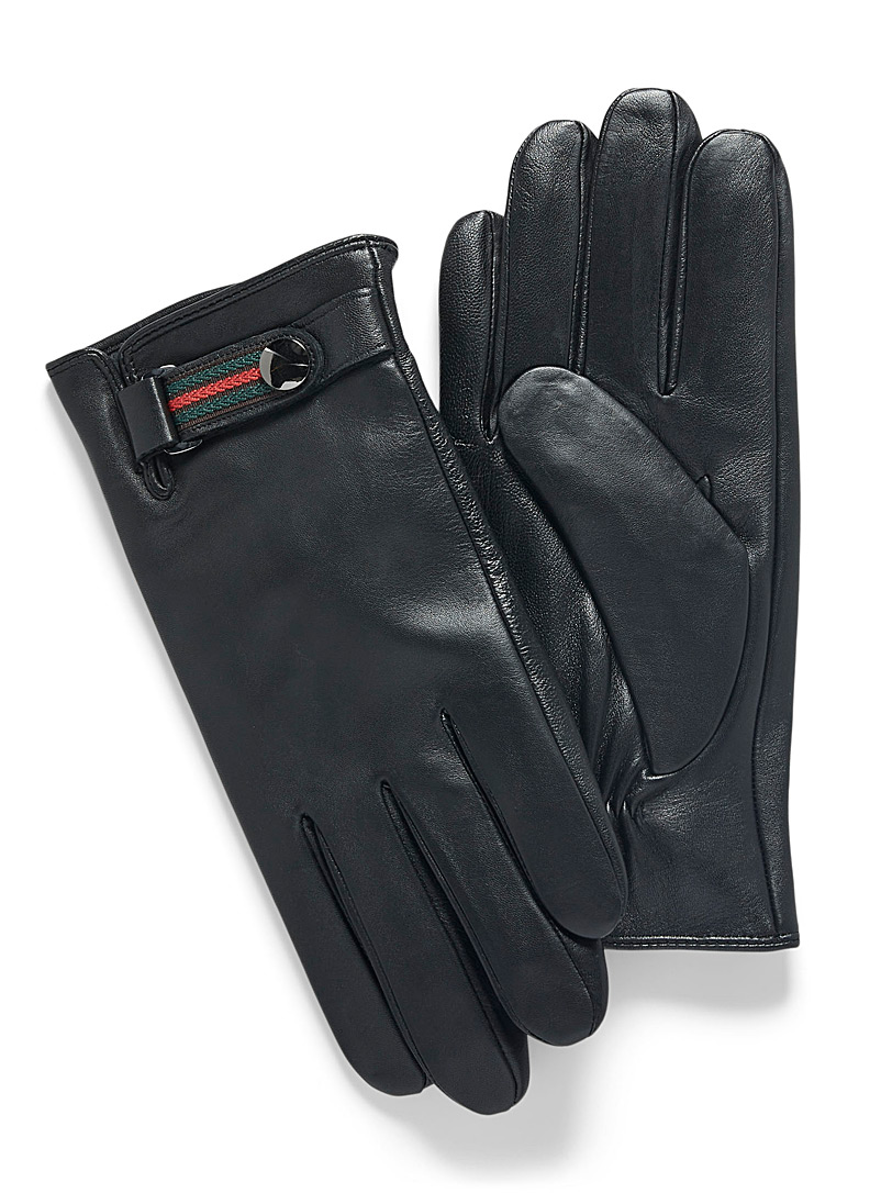Ribbon-strap leather gloves