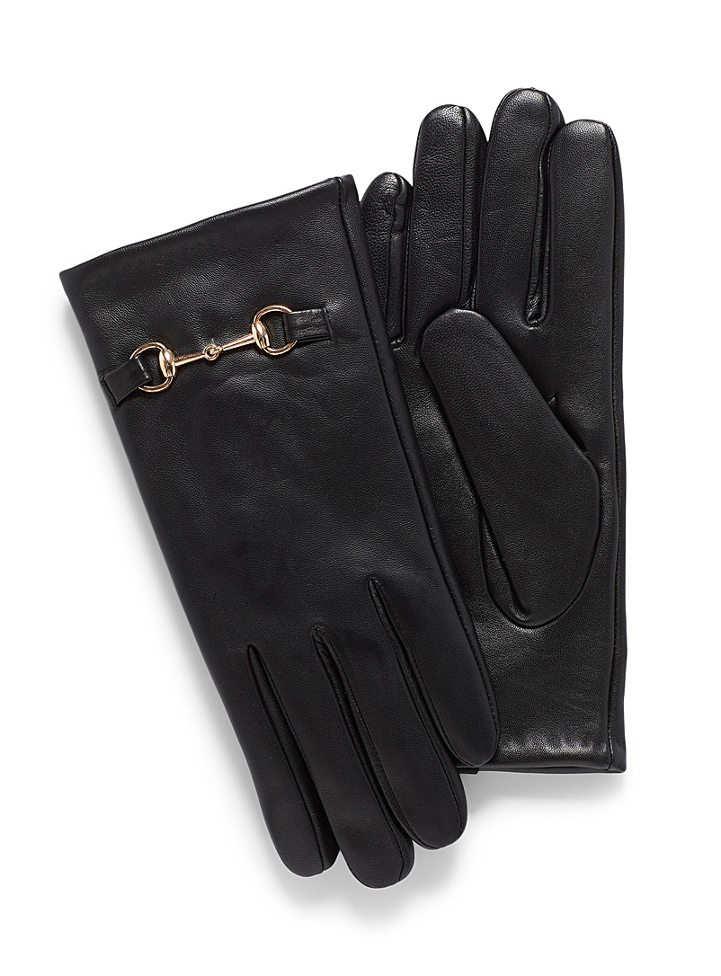 Le 31 Black Gold-accent leather glove for men