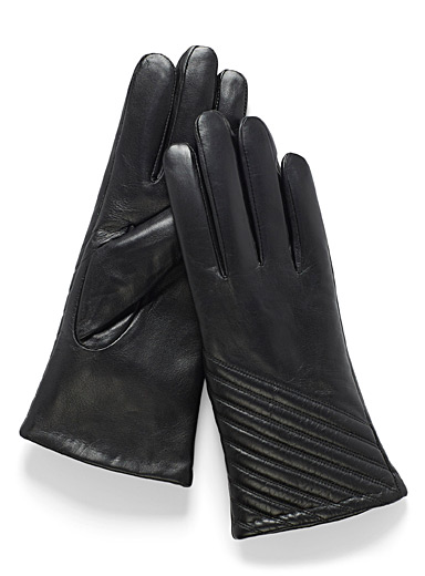 Simons Black Quilted angle leather gloves for women