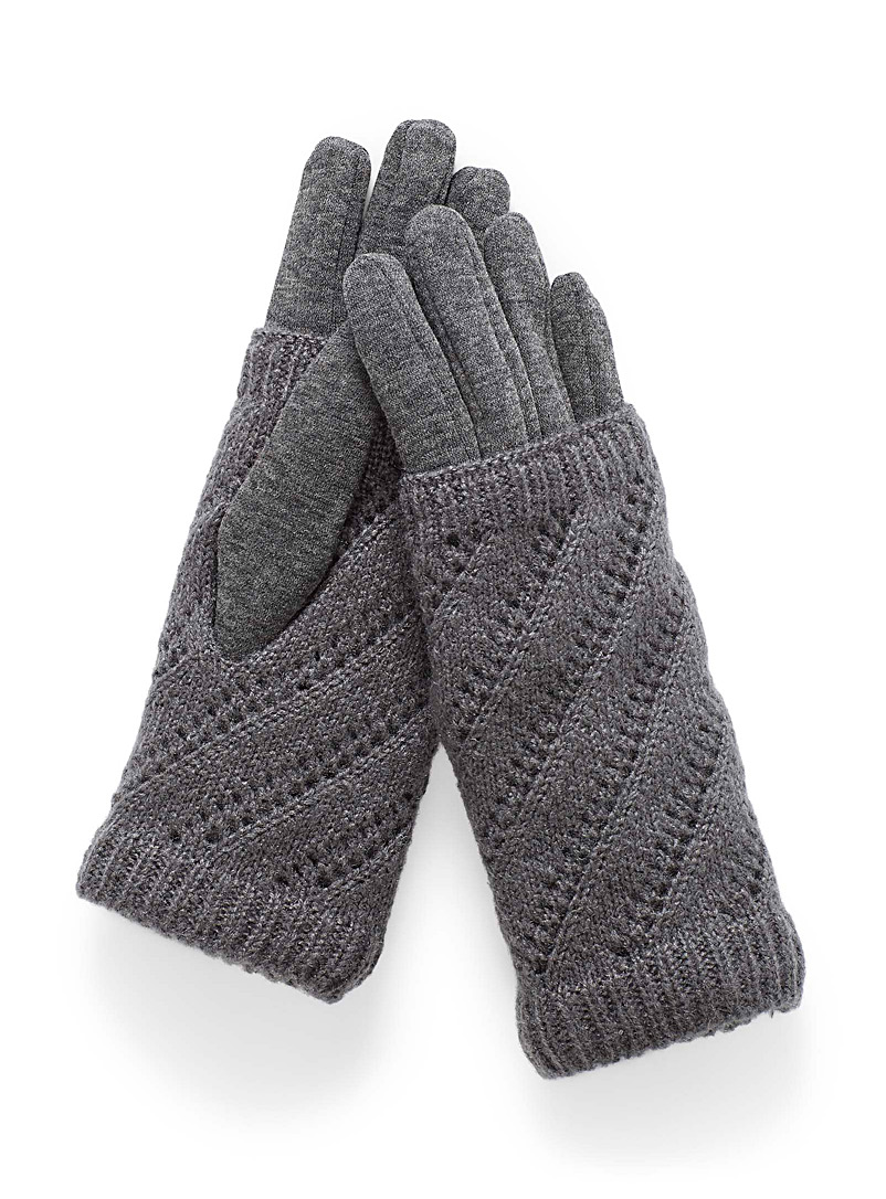 Simons Grey Monochrome knit gloves for women