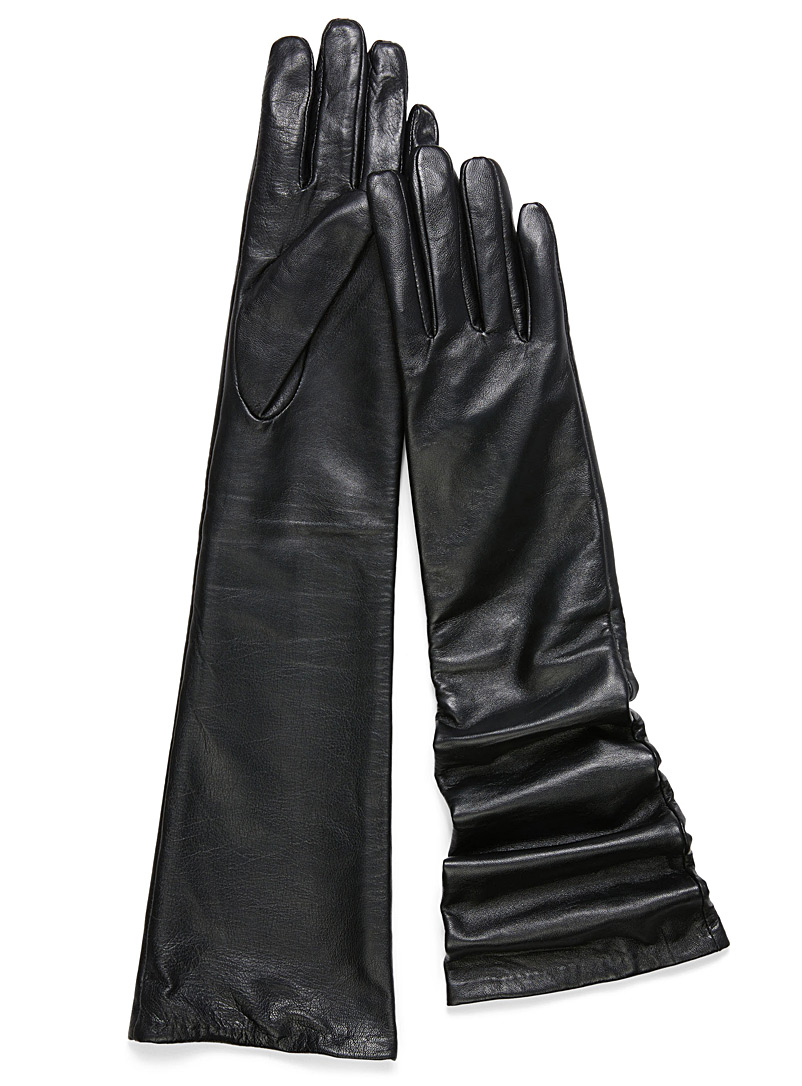 Smooth long leather gloves