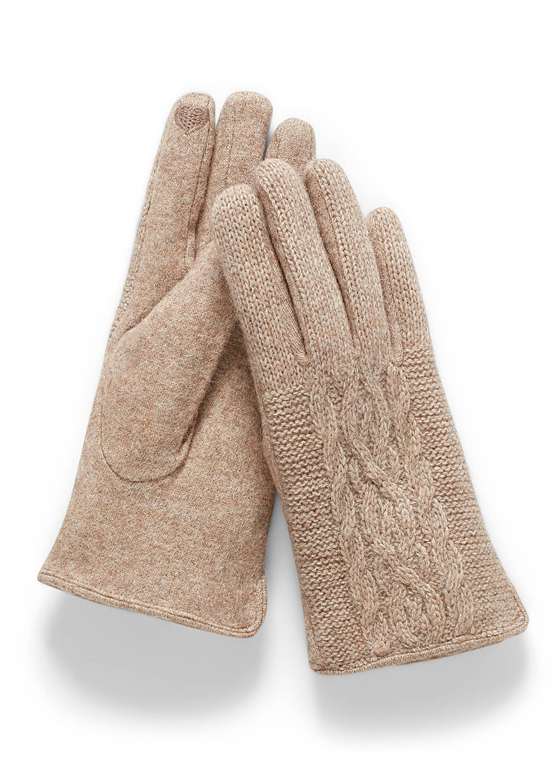 Simons Honey Twisted-knit gloves for women