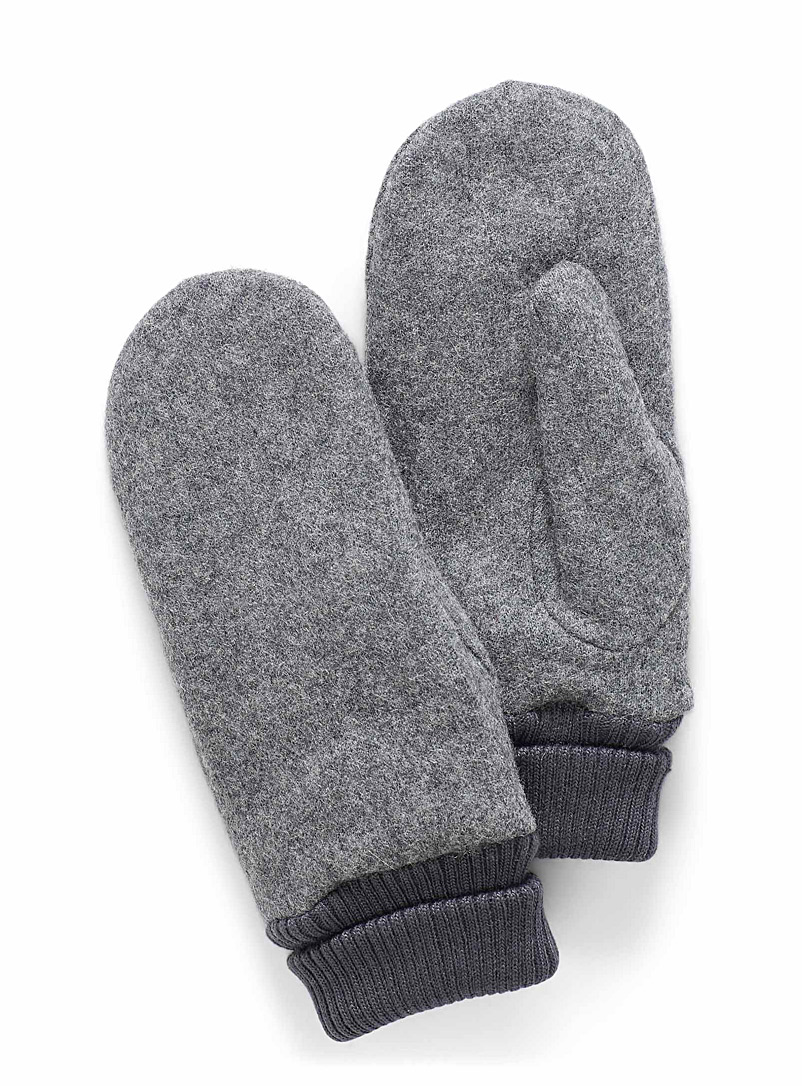 Simons Grey Felted wool mittens for women