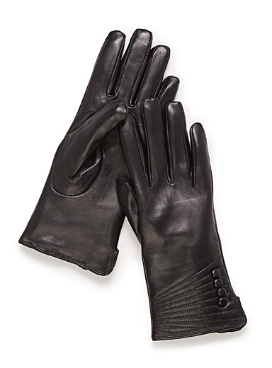 Small button leather gloves