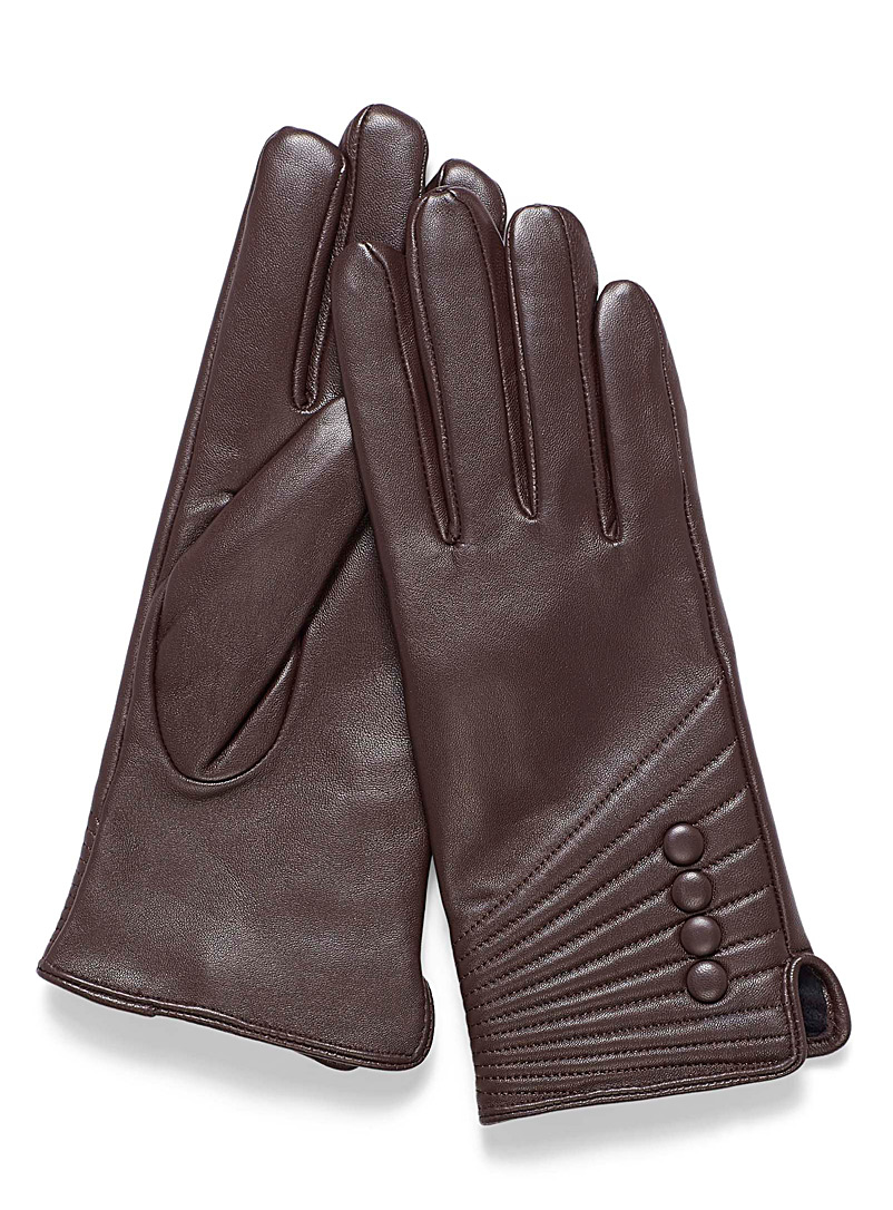 Small button leather gloves - Leather & Suede - Brown