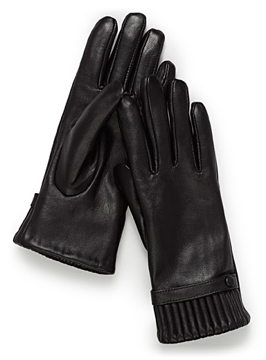 Gathered-cuff leather gloves