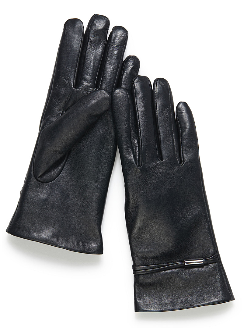 Metallic touch gloves - Leather & Suede - Black