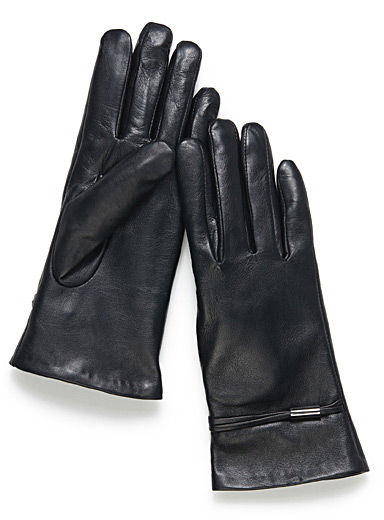 Simons Black Metallic touch gloves for women