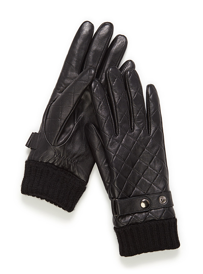 Quilted leather gloves - Leather & Suede - Black