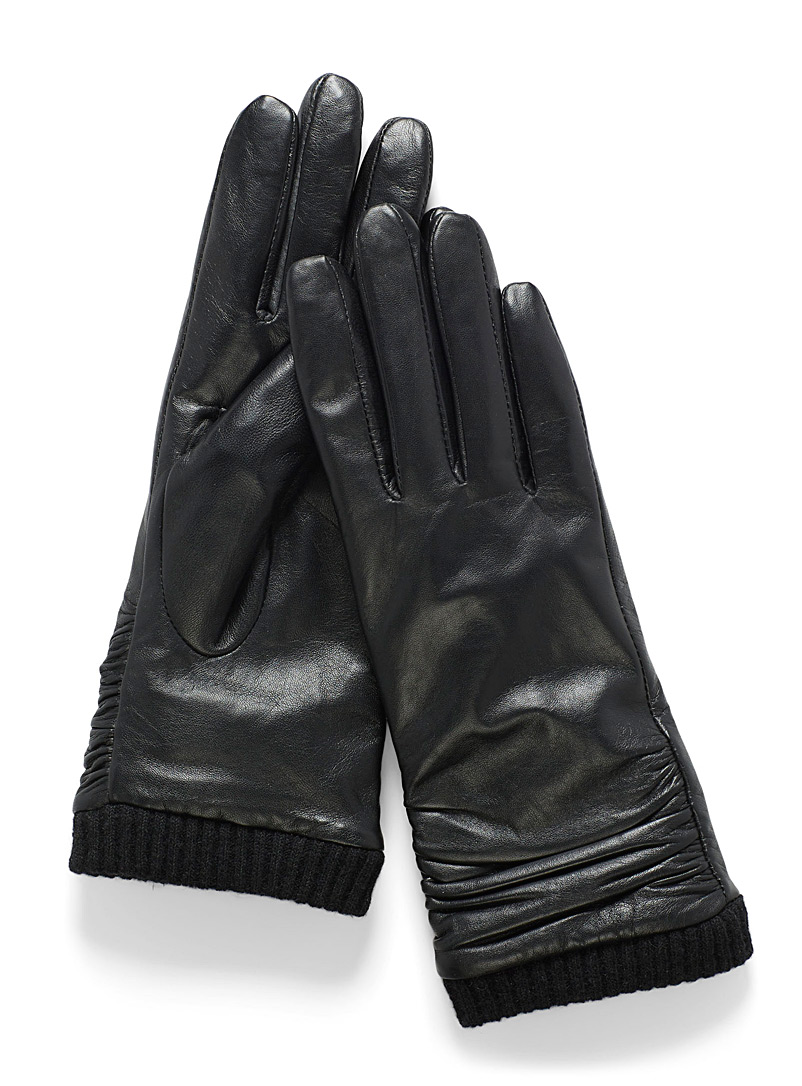 Simons Black Gathered-cuff leather gloves for women