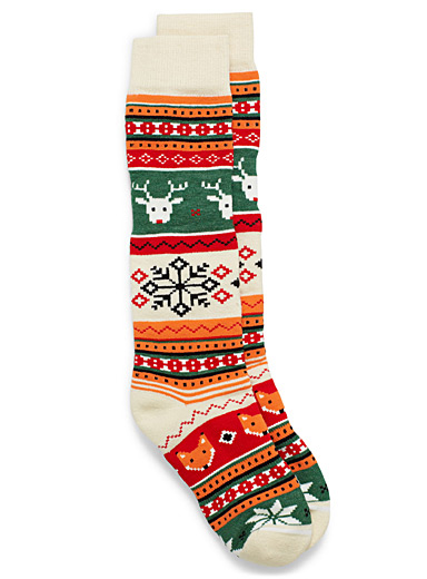 Animal jacquard thermal socks