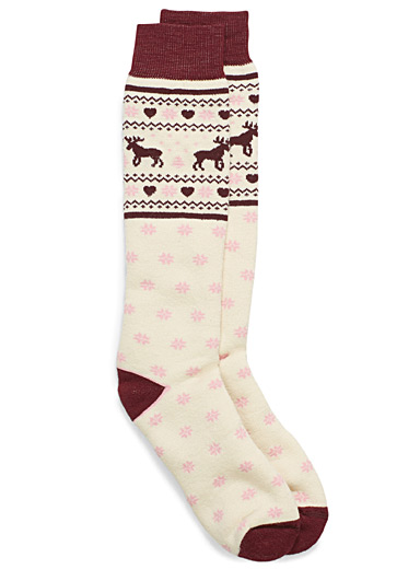Moose jacquard thermal socks