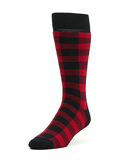 Two-tone check thermal socks