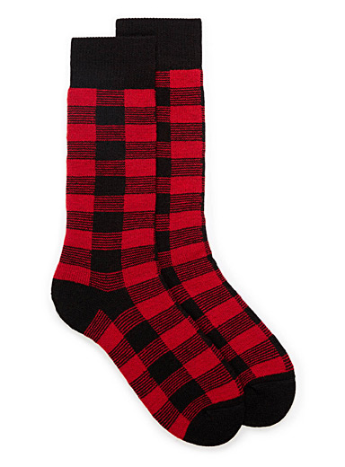 Buffalo check merino wool socks