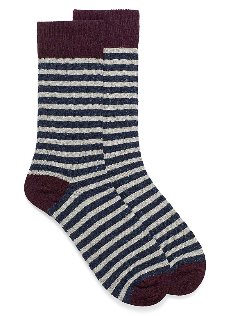 Confetti stripe lambswool socks - Casual socks - Patterned Blue