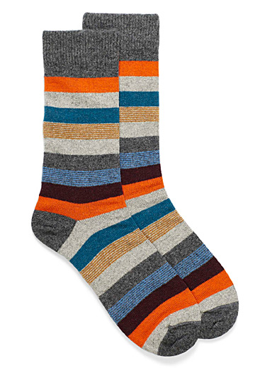 Mixed stripe lambswool socks