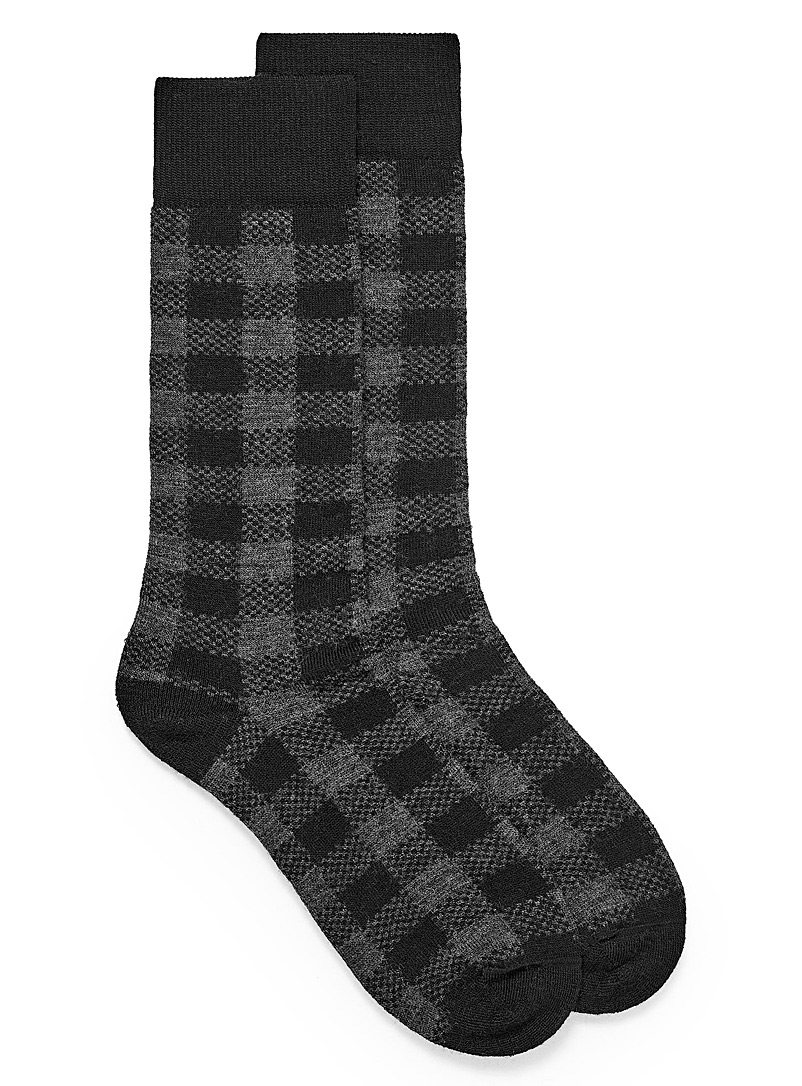 Le 31 Patterned Grey Hunter check thermal socks for men