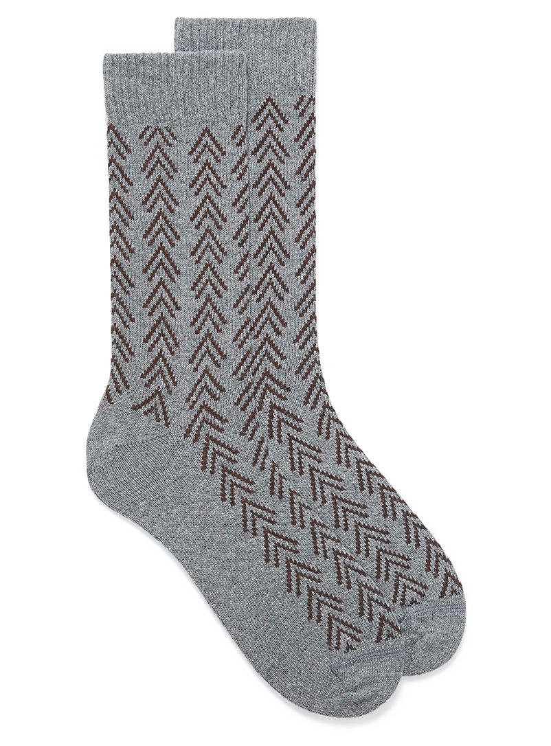 Le 31 Patterned Grey Rustic chevron thermal socks for men