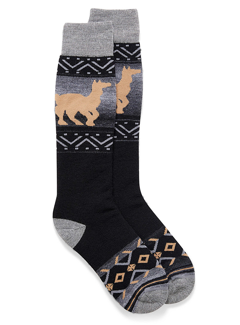 I.FIV5 Black Llama jacquard thermal socks for women