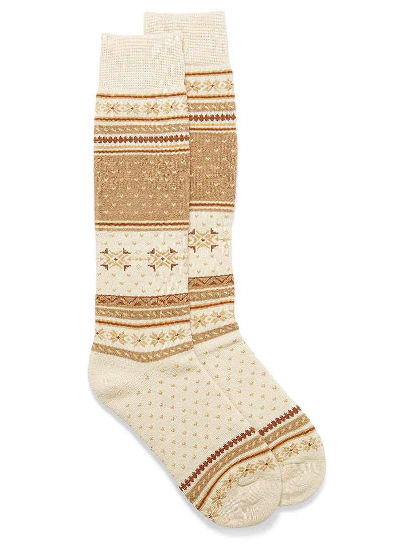 I.FIV5 Cream Beige Norwegian jacquard thermal socks for women