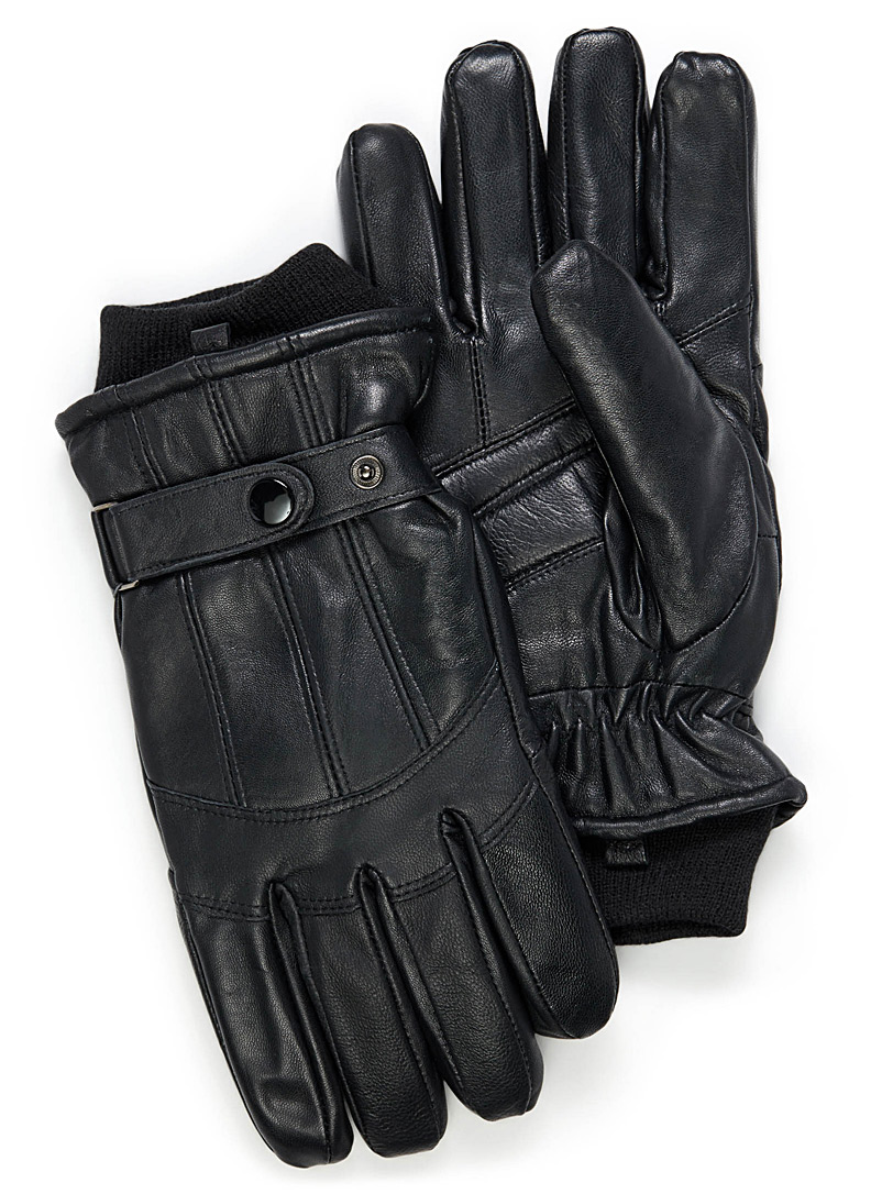 Auclair Black Knit-cuff topstitched leather gloves for men