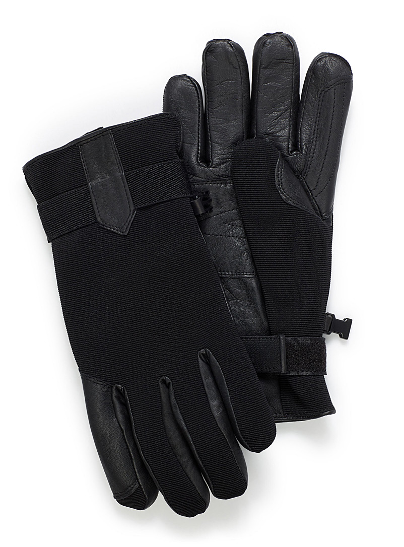 Auclair Black Modern techno leather gloves for men