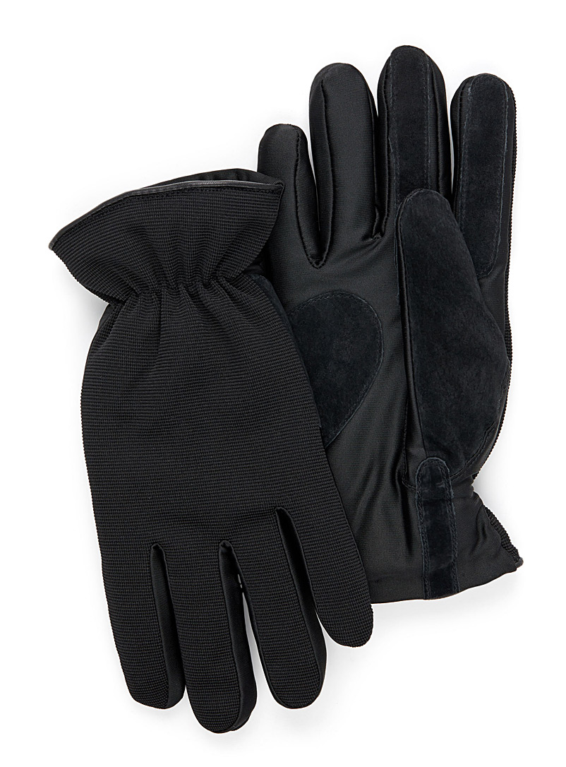 Le 31 Black Techno mixed media glove for men