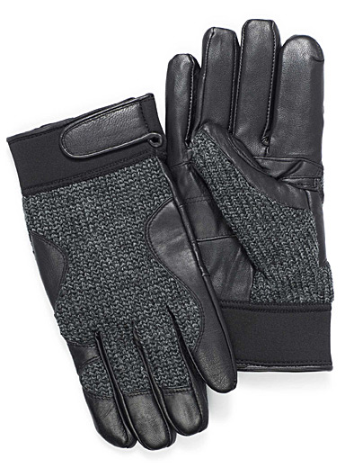 Leather and knit gloves