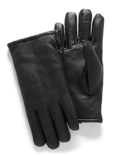 Sherpa-lined leather gloves