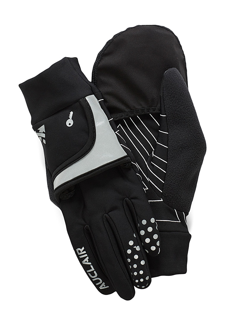 Auclair Black Impulse convertible gloves for women