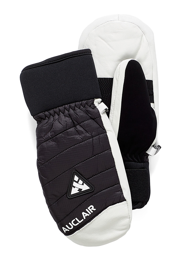 Wave quilted leather mittens