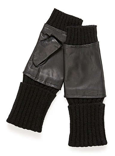 Leather and knit wrist warmers