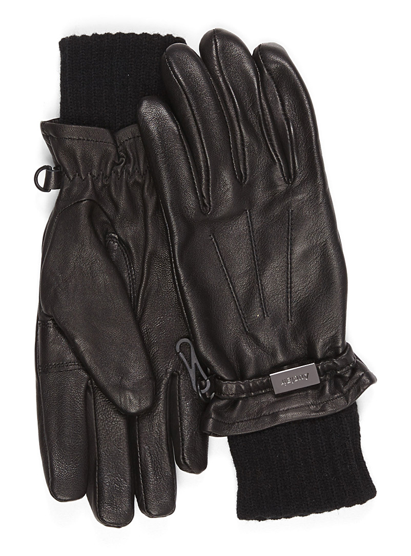 Ribbed cuff leather gloves - Leather & Suede - Black