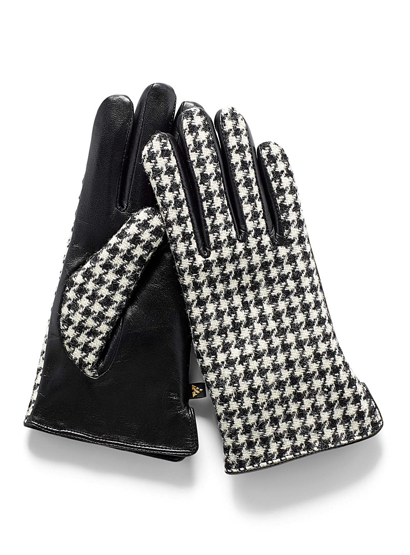 Auclair Patterned Black Leather and houndstooth tweed gloves for women