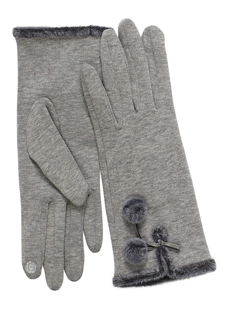 Auclair Silver Pompom techno gloves for women
