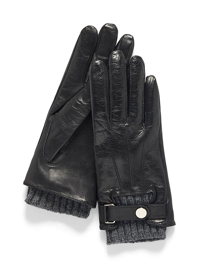 Auclair Black Leather and knit gloves for women