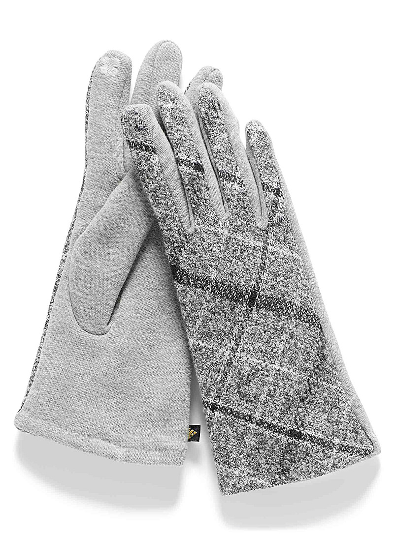 Auclair Silver Heathered check and jersey tactile gloves for women